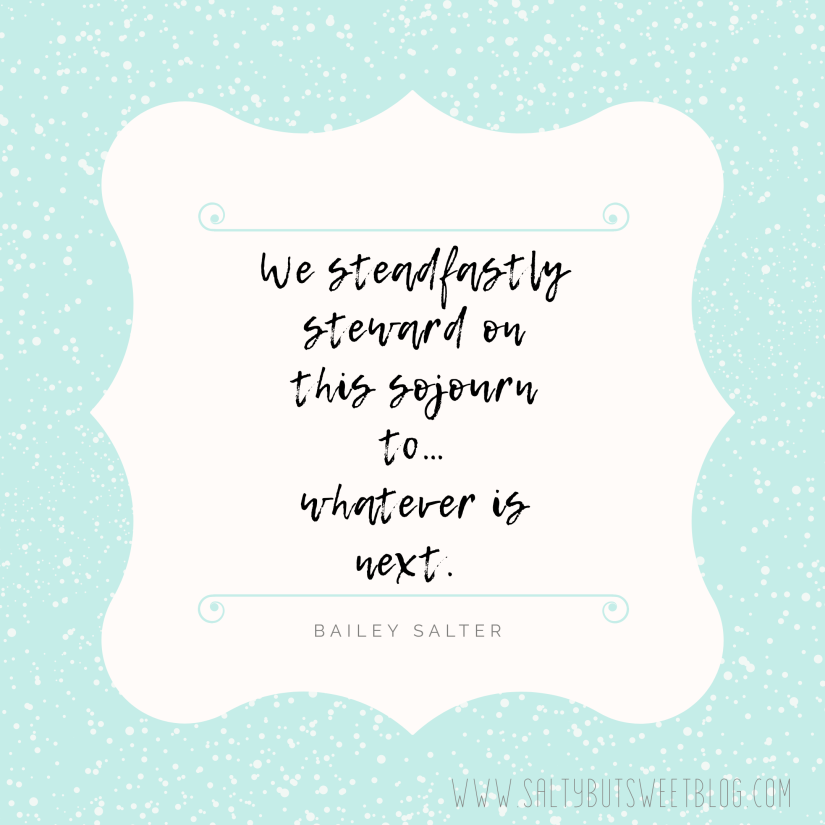 steward on this sojourn quote by bailey salter